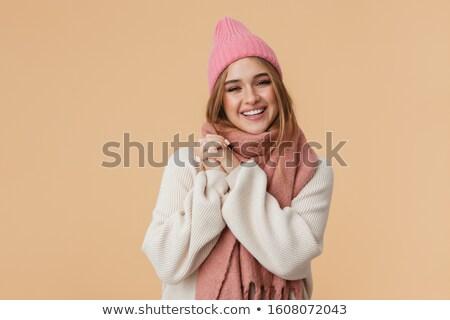 изображение девушки Hat шарф улыбаясь Сток-фото © deandrobot