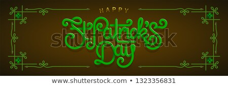 Happy saint Patricks day greeting poster with 3d paper lettering text. Vector illustration Stock photo © sanyal