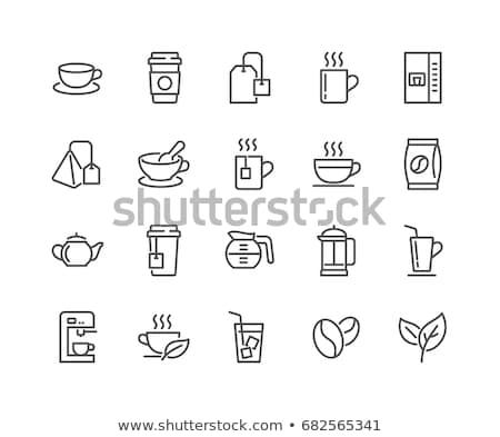 Gyógynövény tea eszpresszó kávé különböző fa asztal felső Stock fotó © karandaev