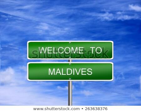 Сток-фото: Мальдивы · шоссе · знак · зеленый · облаке · улице · знак