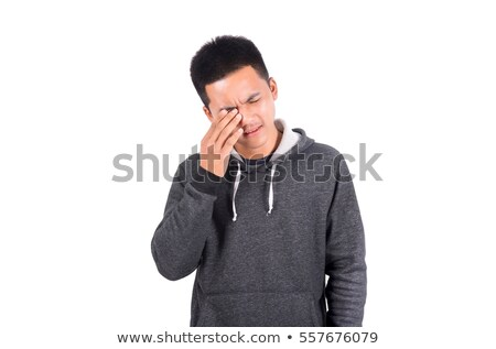 Fiatalember rövidnadrág szemek kéz férfi modell Stock fotó © Paha_L