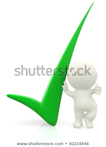 3d person getting it right with a green check mark   isolated ov stock photo © dacasdo