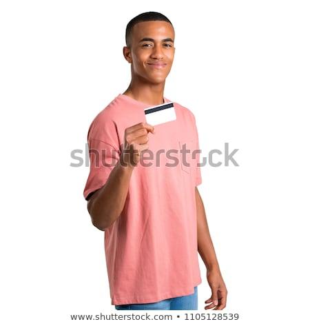 Homme carte de débit homme blanc blanche affaires téléphone Photo stock © khamidulin