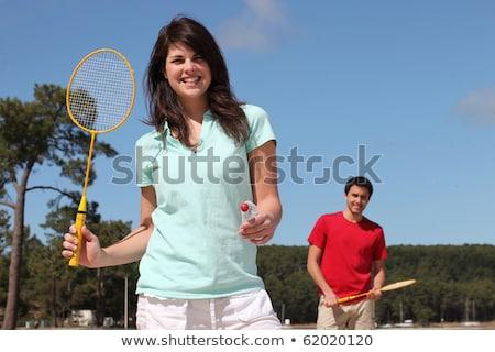 çift oynama badminton kadın gökyüzü spor Stok fotoğraf © photography33