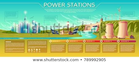 Moulin à vent nucléaire plusieurs vent renouvelable Photo stock © xedos45