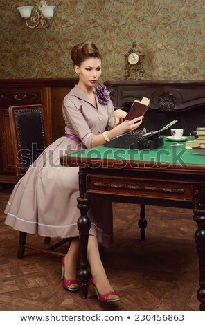 Coquette retro woman in pearls Stock photo © pekour