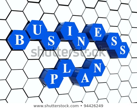 business plan - blue hexahedrons in cellular structure Stock photo © marinini
