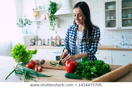 genç · kadın · sebze · kadın · seksi · mutfak · gece - stok fotoğraf © konradbak