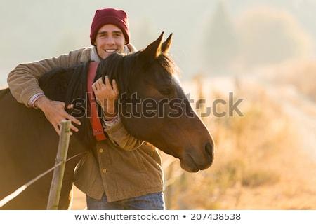 joven · caballo · negro · semental · campo · hombre - foto stock © photography33