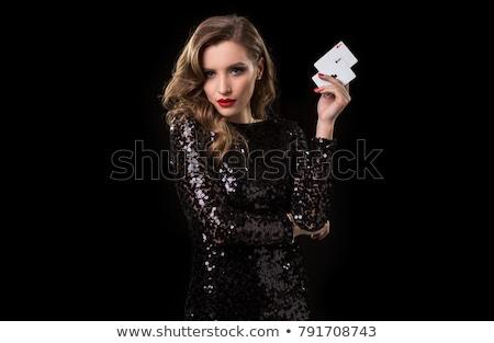bela · mulher · cartas · de · jogar · negócio · mulheres · trabalhar - foto stock © stockyimages