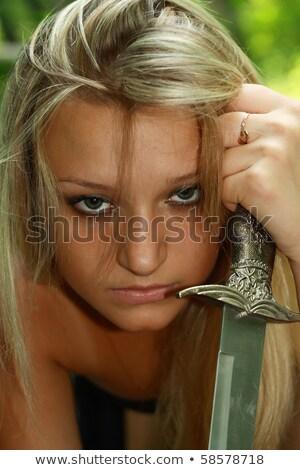 портрет блондинка кинжал древесины красивой девушки Сток-фото © kozak2008