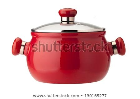 Red saucepan isolated on white background stock photo © ozaiachin