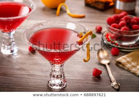 málna · koktél · martinis · pohár · fehér · gyümölcs · jég - stock fotó © danielgilbey
