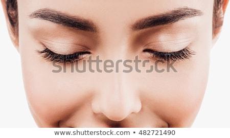 belo · modelo · brilhante · make-up · fechado · um - foto stock © carlodapino