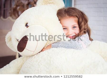 smutne · dziewczyna · miś · mały · cute · trzymając · się · za · ręce - zdjęcia stock © acidgrey