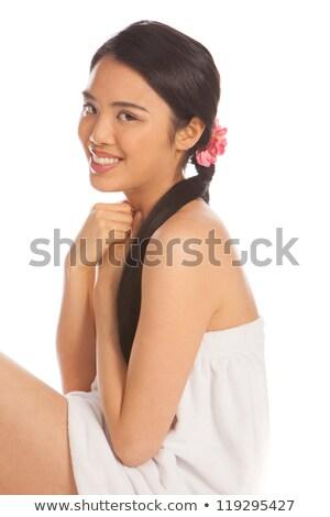 Hermosa Asia mujer corto bano túnica Foto stock © stryjek