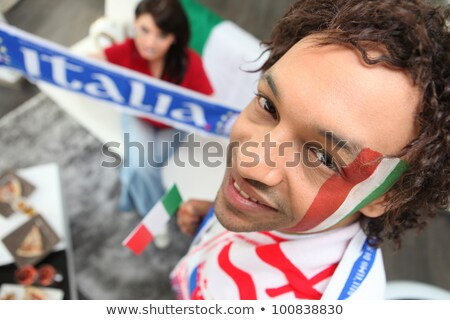 two italy fans watching match at home stock photo © photography33