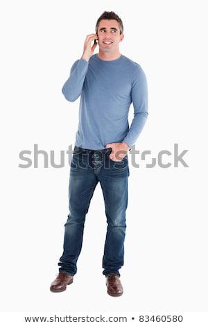 heureux · homme · téléphone · blanche · visage · téléphone - photo stock © wavebreak_media