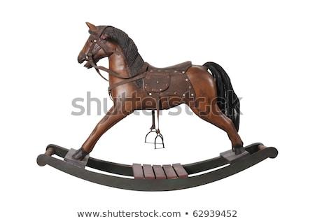 антикварная игрушечный конь-качалка изолированный белый игрушку играть Сток-фото © danny_smythe