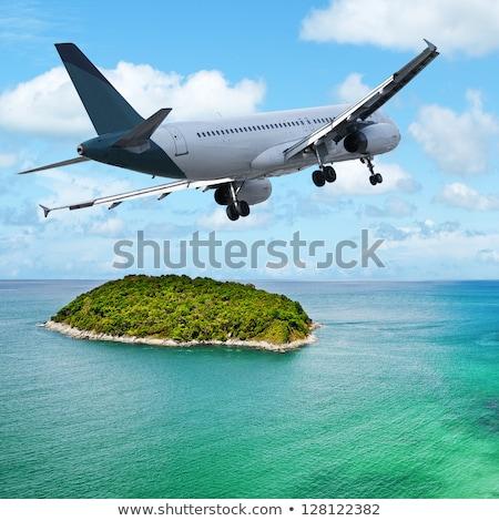 Stockfoto: Jet · tropisch · eiland · vierkante · hemel · natuur · berg