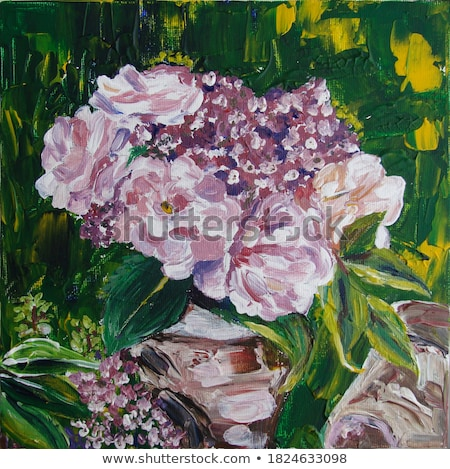 Blossom pink rose with green leaves in the background stock photo © seiksoon
