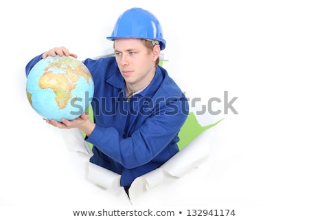 Tradesman holding a globe Stock photo © photography33