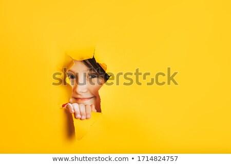 Twarz otwór papieru ciekawy człowiek Zdjęcia stock © elenaphoto
