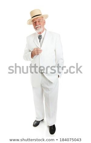 красивый южный джентльмен старший белый костюм Сток-фото © lisafx