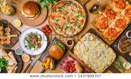 Pizza salata ev yapımı taş bahar yeme Stok fotoğraf © doupix