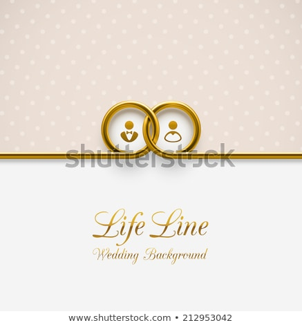 Two Wedding invitation cards with golden rings, vector  Stock photo © carodi