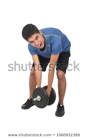 Muscular man lifting a dumbbell over white Stock photo © photobac