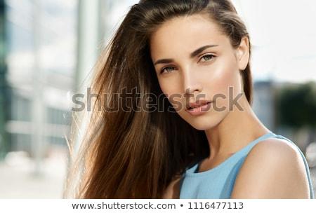 temizlemek · güzel · bir · kadın · açık · portre · güzel · esmer - stok fotoğraf © lunamarina