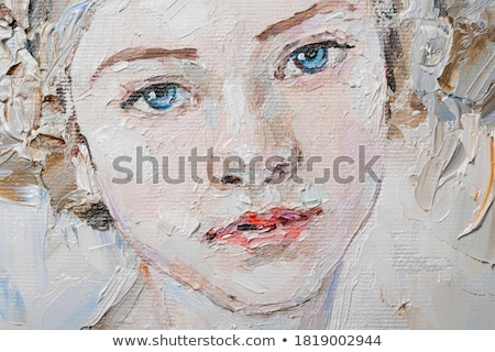 Stock photo: blue eyed blond-brown woman face