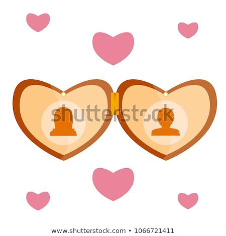 Rózsaszín szív fa nyaklánc szimbólum doboz Stock fotó © justinb