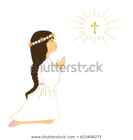 elsőáldozás · emlékeztető · kártya · barna · lány · enyém - stock fotó © marimorena