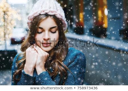mooie · jonge · vrouw · winter · lopen · blond · meisje - stockfoto © Kor