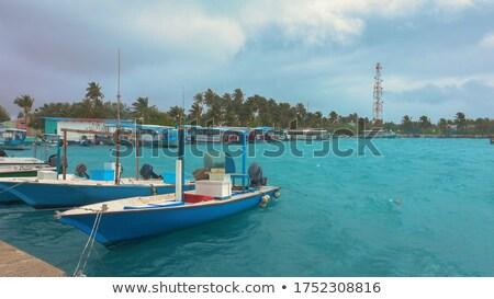 嵐 ボート モルディブ 暗い 雨 空 ストックフォト © Joningall