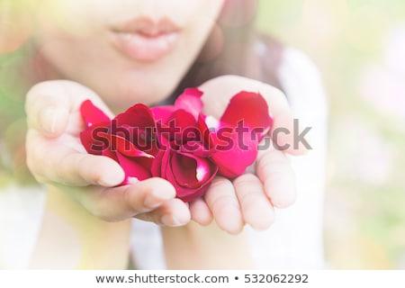 beautiful woman blowing rose petals stock photo © nejron