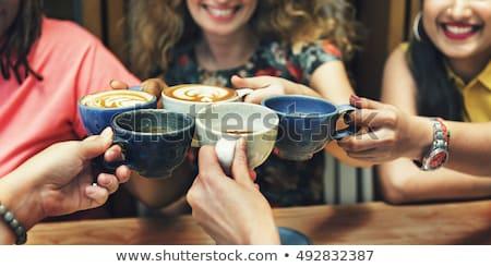 Foto stock: Dama · café · mujer · bonita · teléfono · móvil