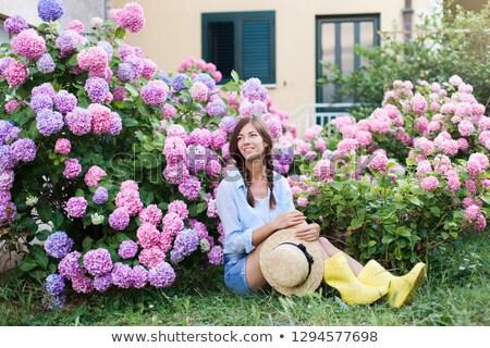 подвесной · цветы · банка · великолепный · кирпичная · стена · стены - Сток-фото © dutourdumonde