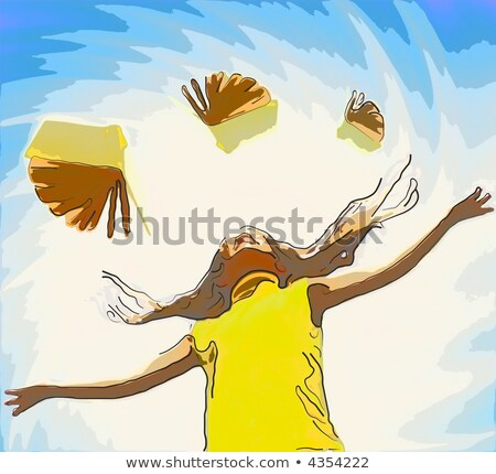 young happy girl over abstract background and flying books aroun stock photo © nejron
