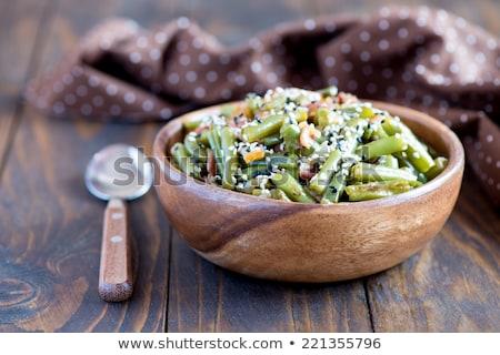 Groene bonen salade spek tomaat voedsel Stockfoto © M-studio