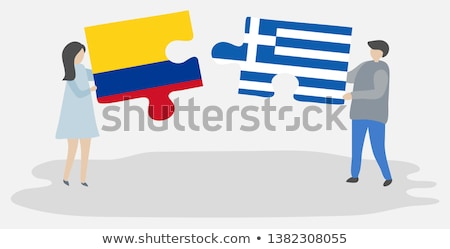 Kolombiya Yunanistan bayraklar bilmece yalıtılmış beyaz Stok fotoğraf © Istanbul2009