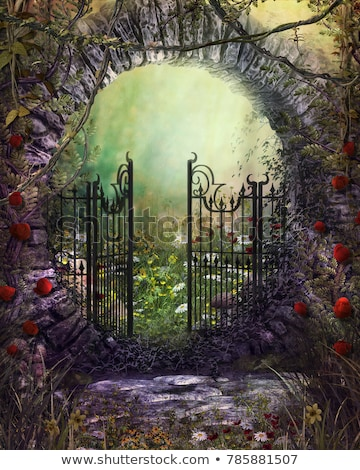 Old, stone gate leading to beautiful garden Stock photo © Julietphotography