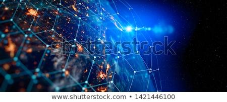 Globális kommunikáció fehér levelek repülés körül kék Stock fotó © timurock
