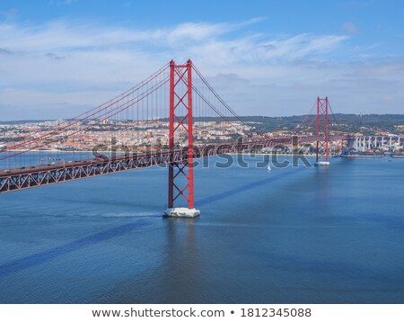 25 de abril cable stayed bridge over tagus river stock photo © discovod