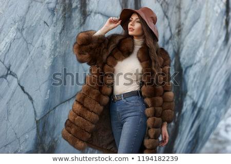 Jonge mooie vrouw pels aantrekkelijk meisje zwarte geïsoleerd Stockfoto © Aikon