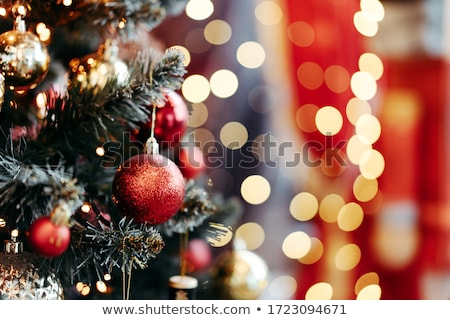 decoration with pine or fir and red ornaments balls stock photo © feelphotoart
