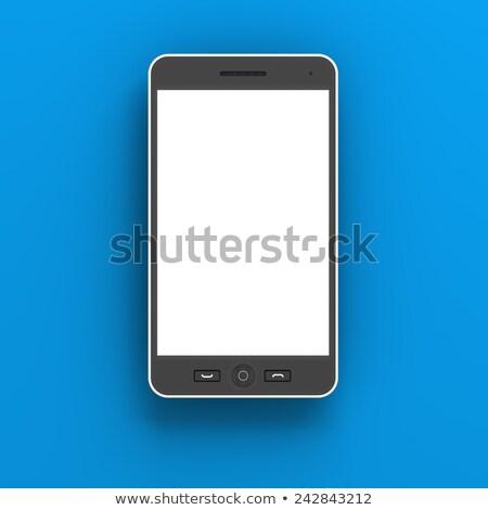Stok fotoğraf: Generic Smartphone Against Blue Background 3d Render