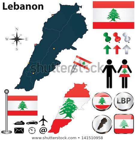 ストックフォト: Map On Flag Button Of Lebanese Republic